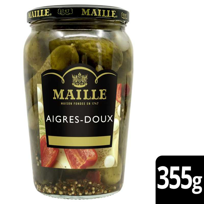 Maille Cornichons Aigres-Doux Extra-Fins Bocal 355g 1