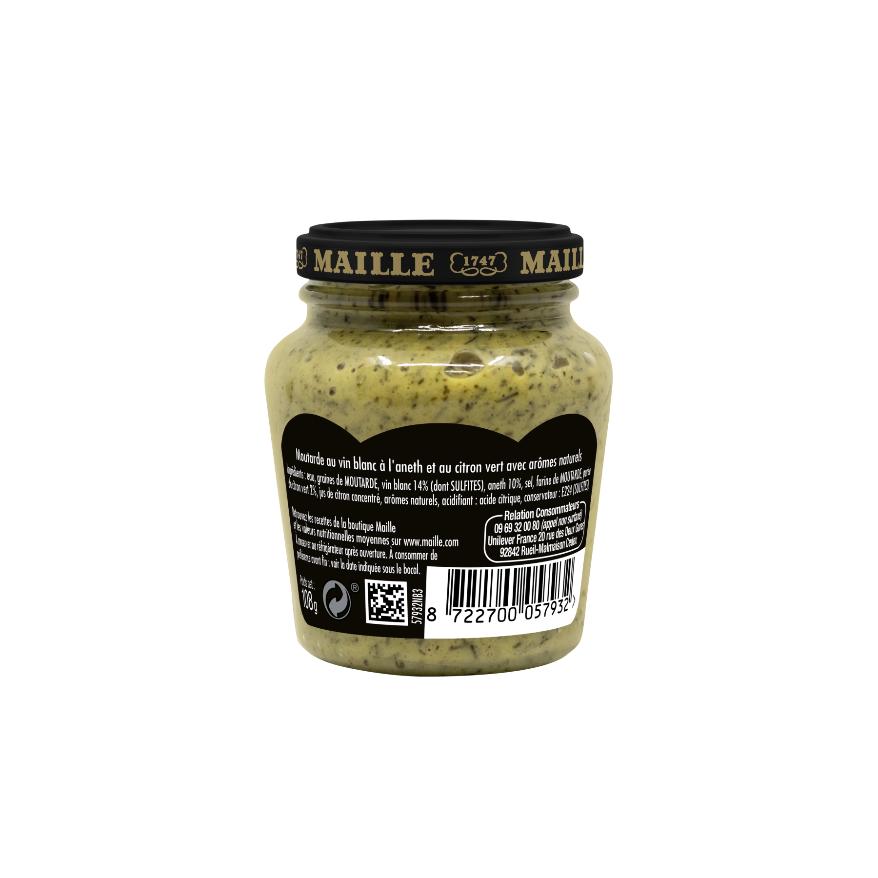 Maille - Moutarde au vin blanc, aneth et citron vert, 108 g, backend