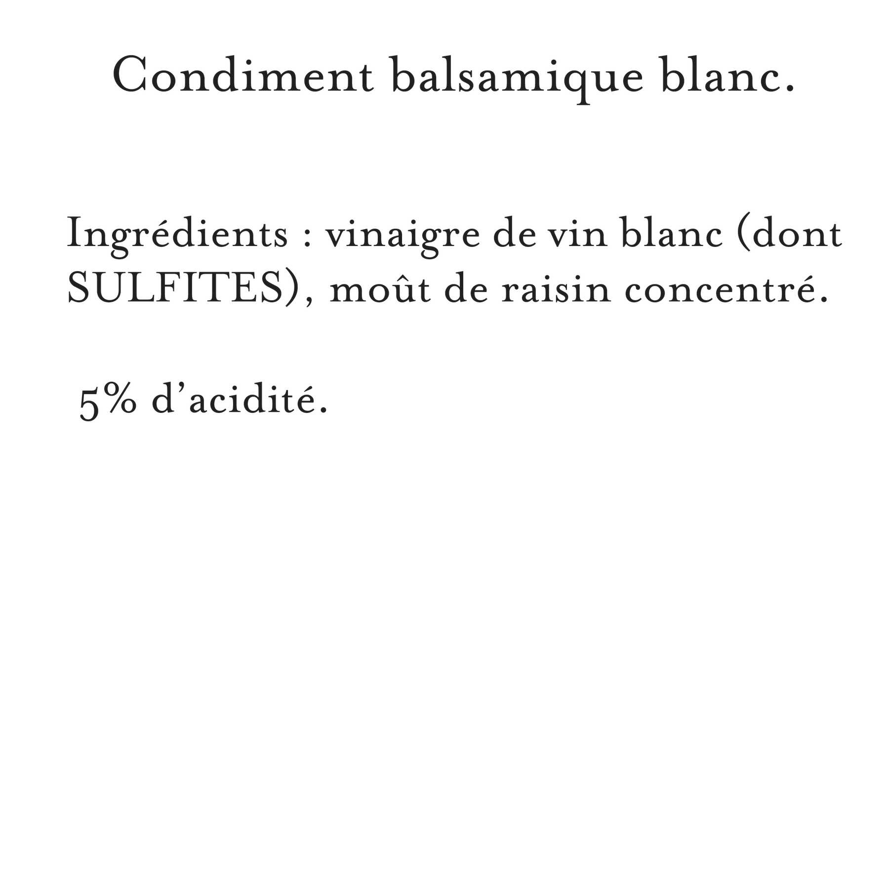 Maille - Condiment balsamique blanc, 250 ml, description