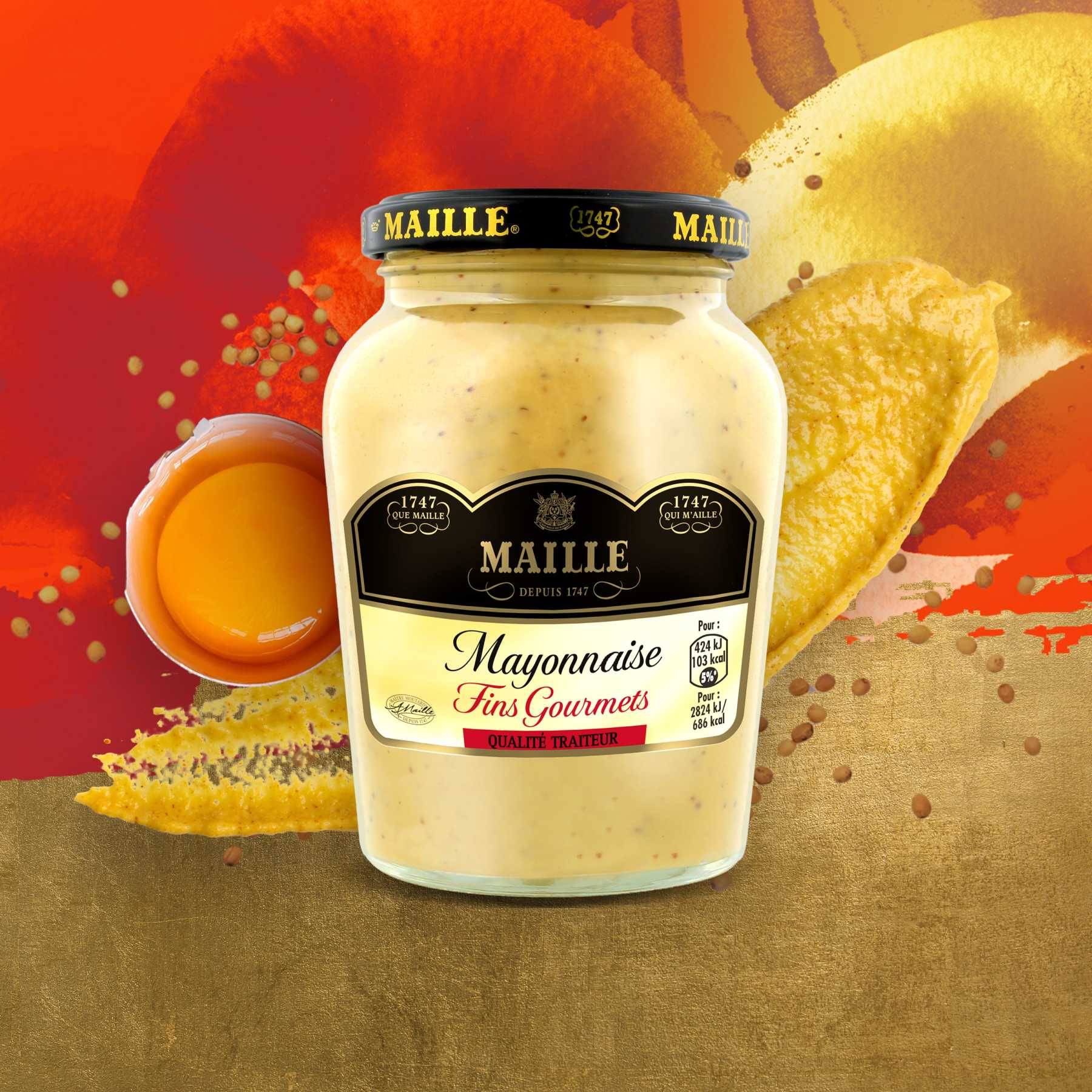 Maille - Mayonnaise Fins Gourmets Bocal 320 g, new visual