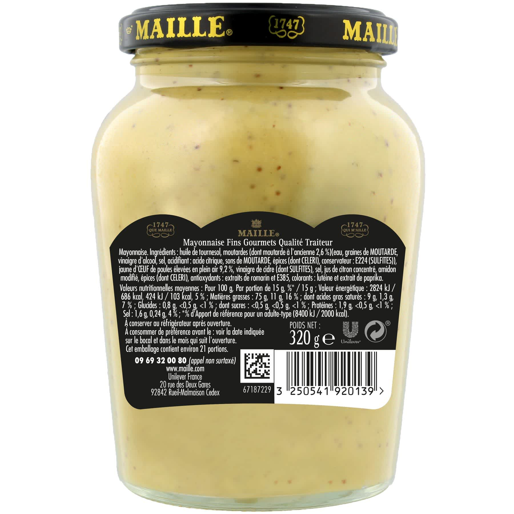 Maille - Mayonnaise Fins Gourmets Bocal 320 g, backend