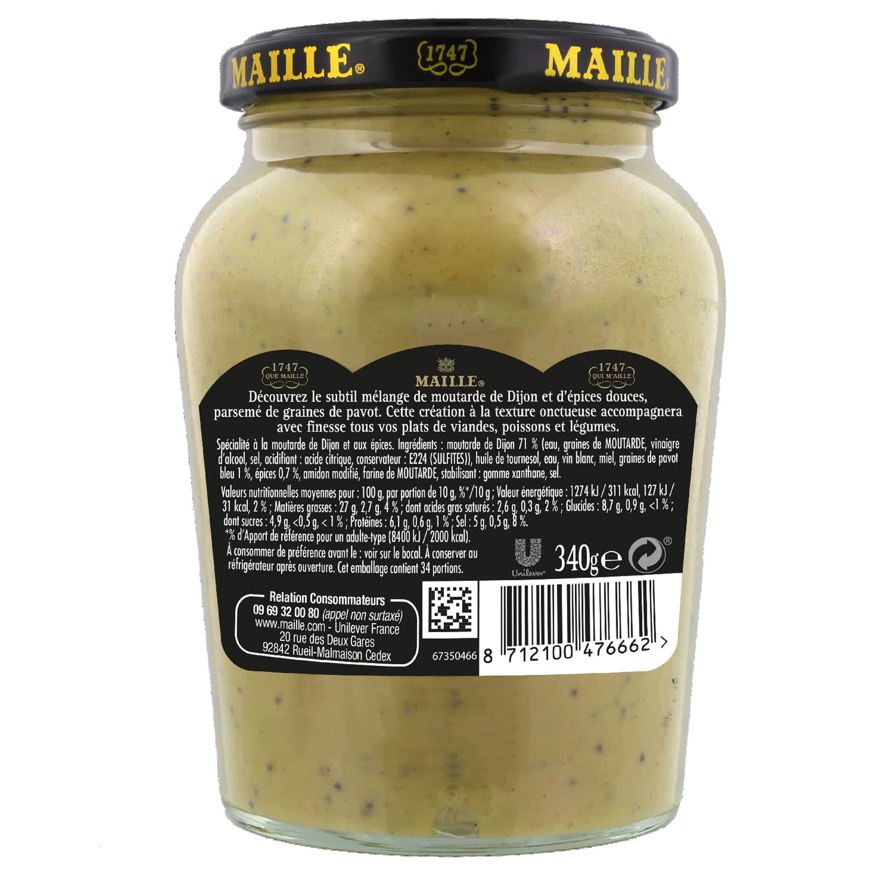Maille Specialite a la Moutarde Fins Gourmets Pointe d'Epices Bocal 340g, backend