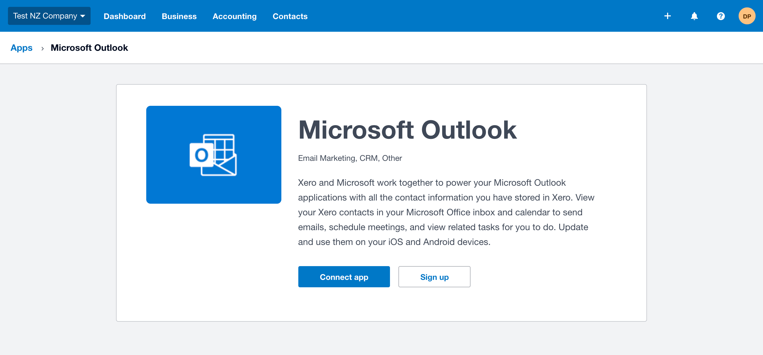 screencapture connect xero microsoft outlook 2019 11 06 11 46 51
