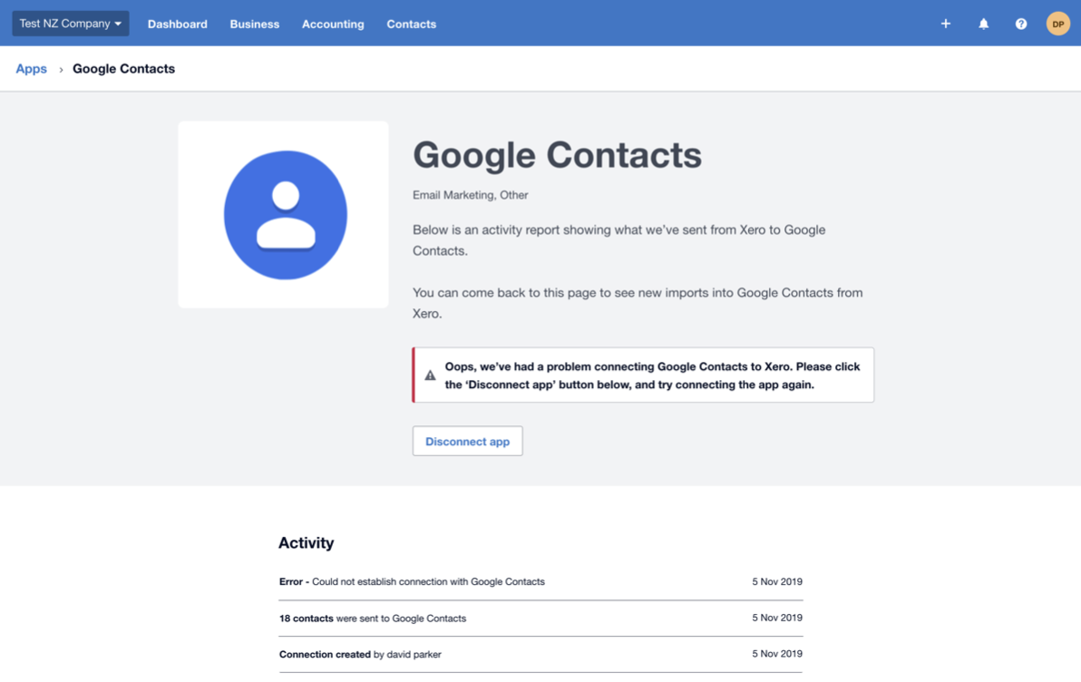 screencapture connect xero google contacts 2019 11 05 09 32 55
