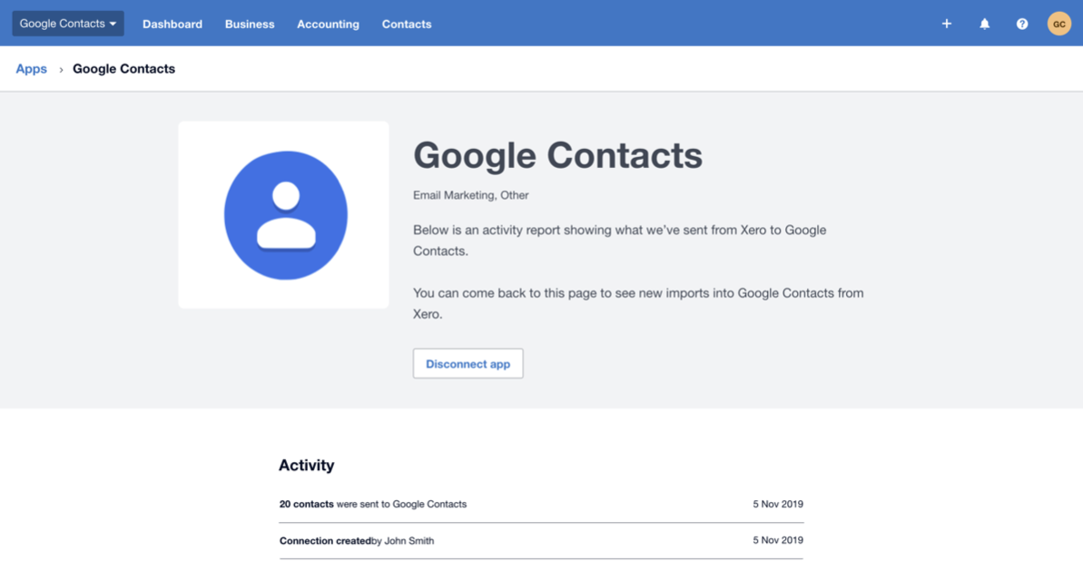 screencapture connect xero google contacts 2019 11 05 11 02 06