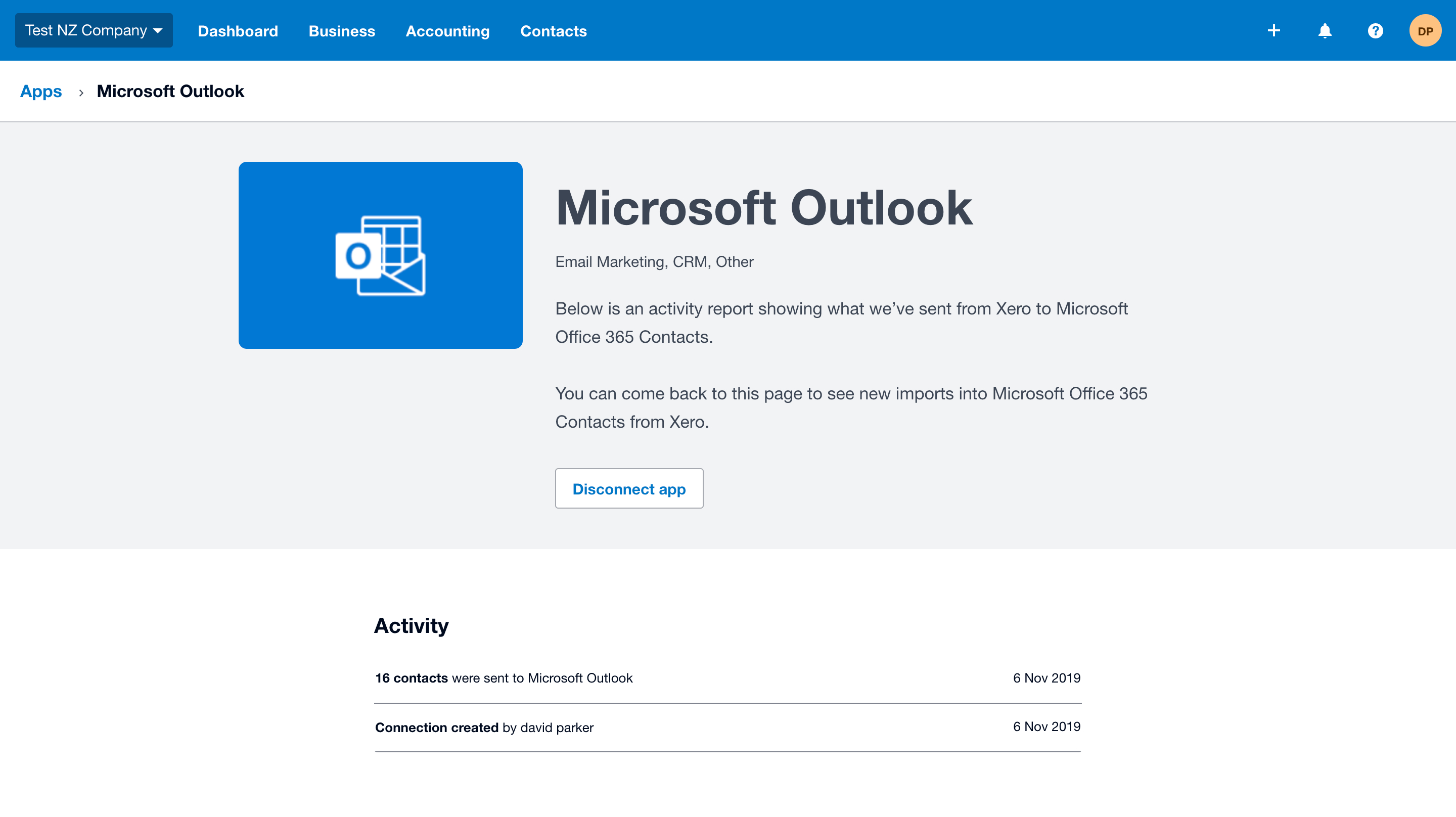 screencapture connect xero microsoft outlook 2019 11 06 11 45 58