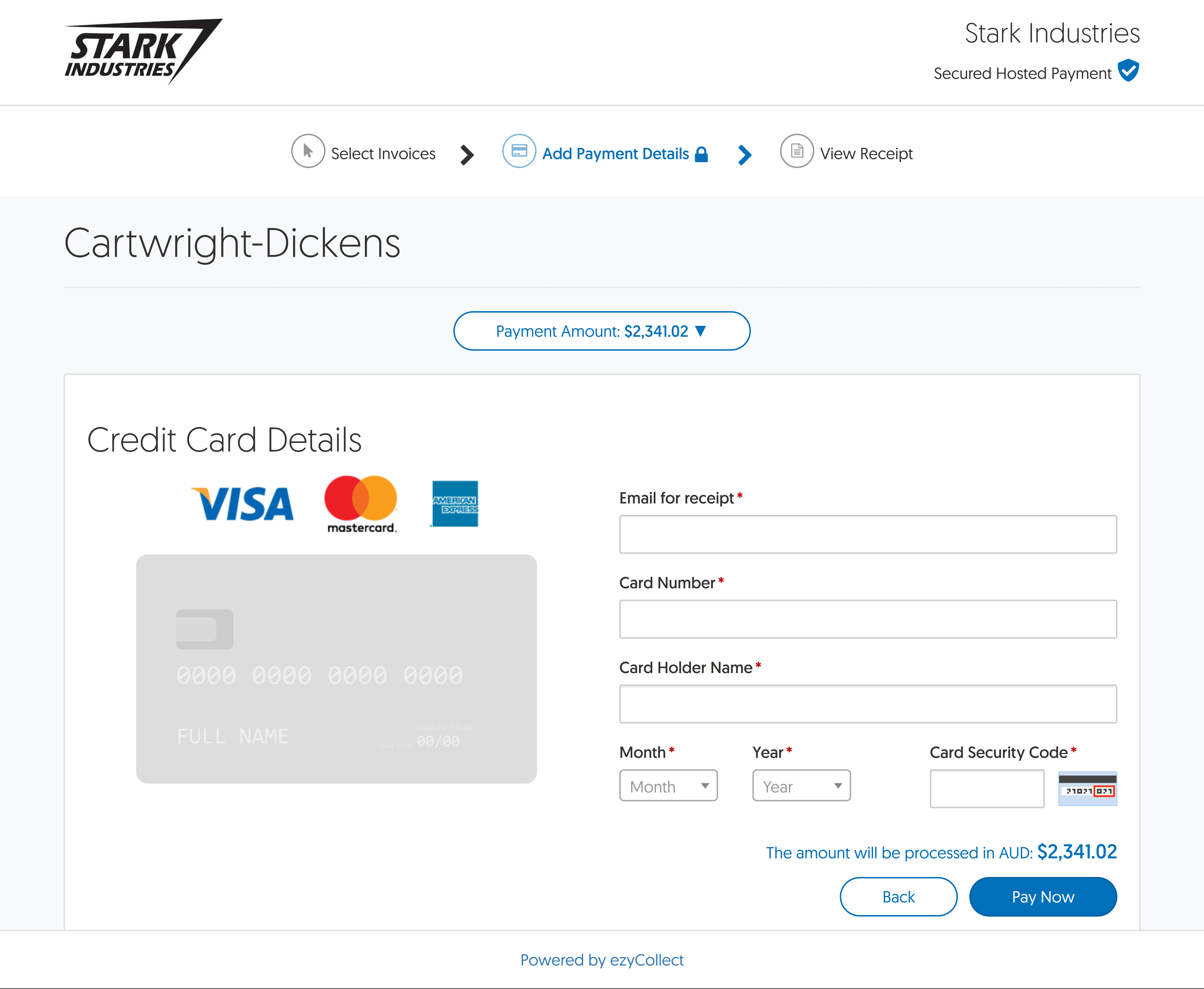 credit card checkout xero