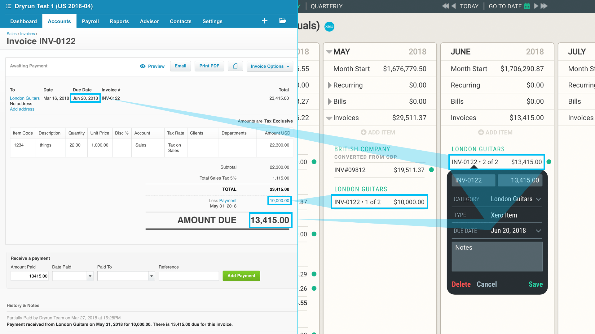 Xero to Dryrun Partial Payments   Barb Easter