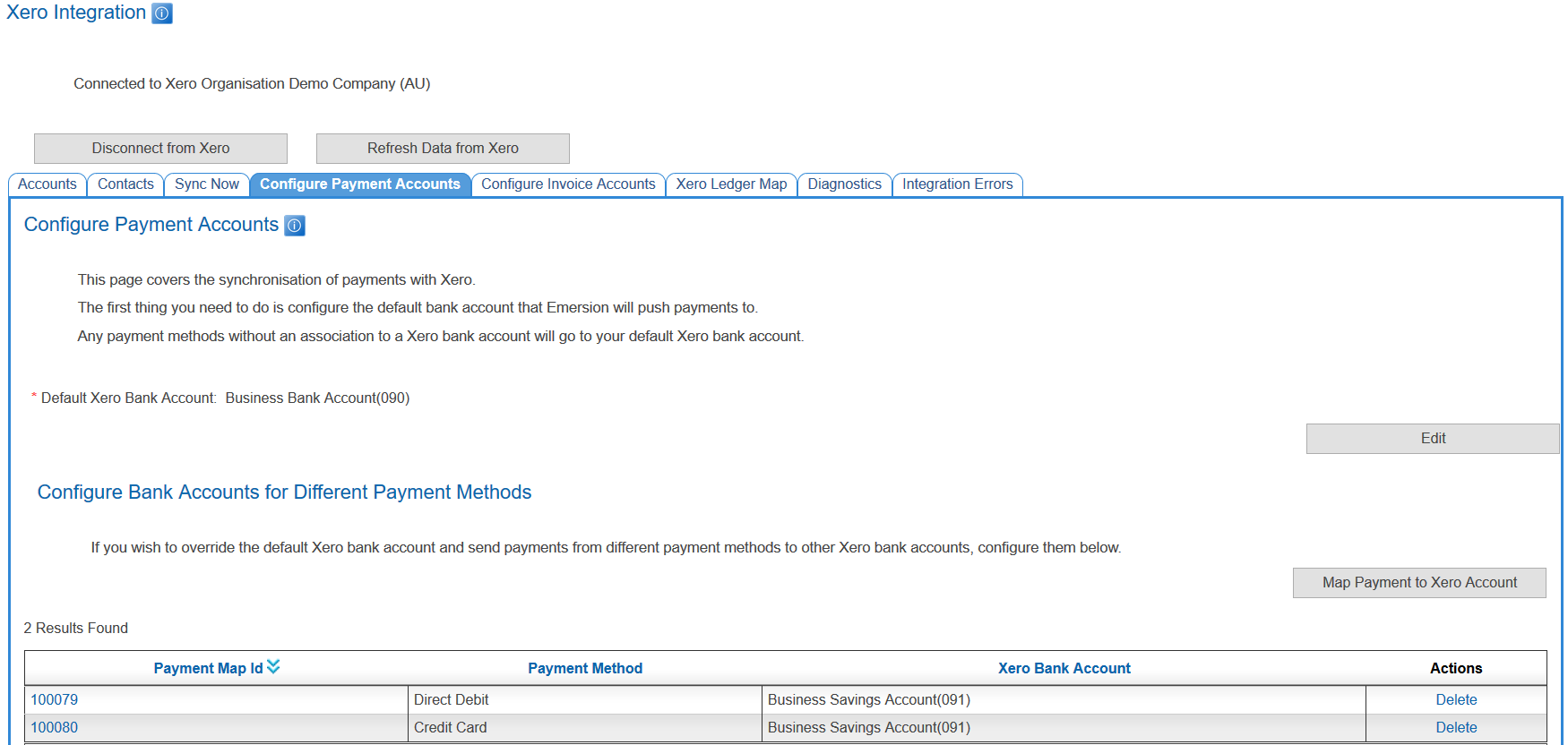 Emersion Xero Admin BankAccountSetup