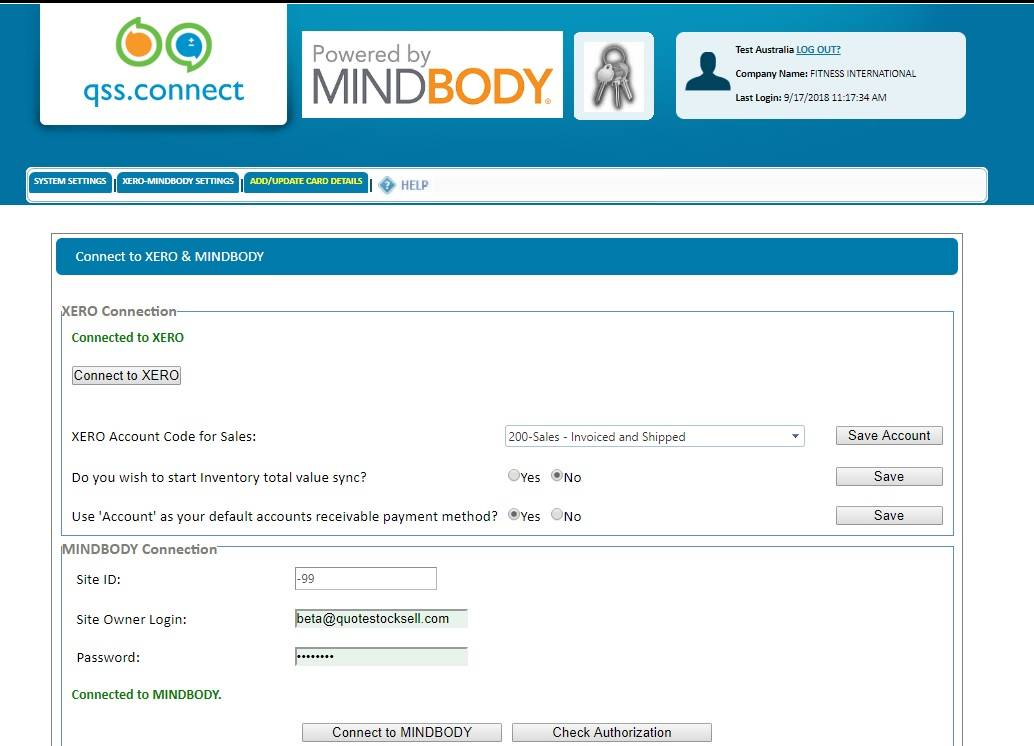 QSSConnect Mindbody 1