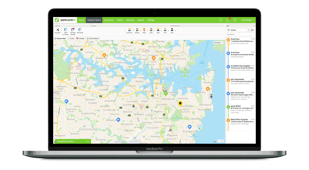 ServiceM8 Online   Dispatch Map