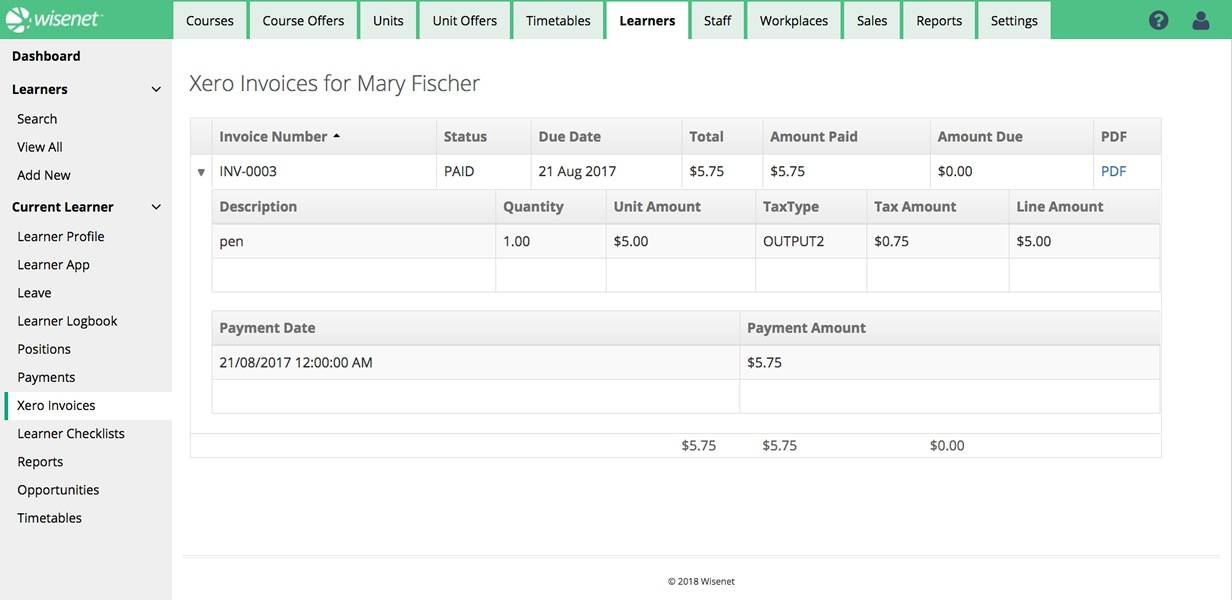 Finance Xero Invoice Detail   David Simmons