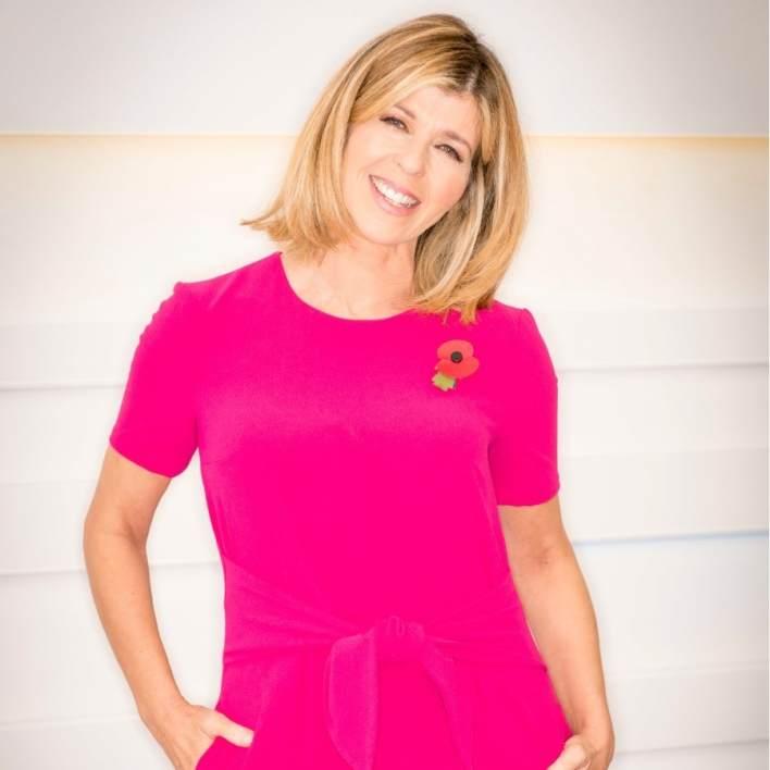 Kate Garraway, pink long sleeve dress