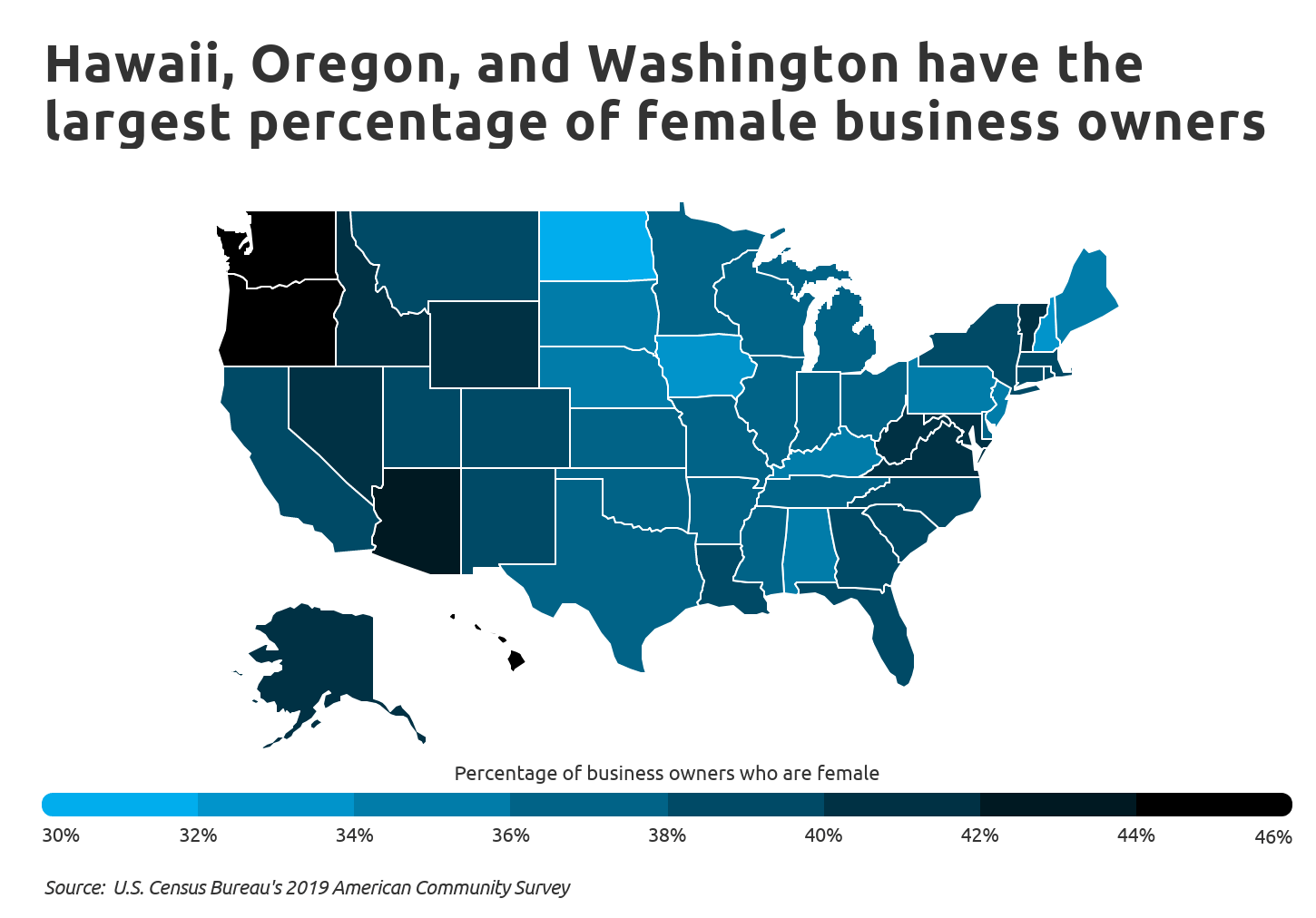 Chart4 Hawaii, Oregon, and WA have the most female business owners