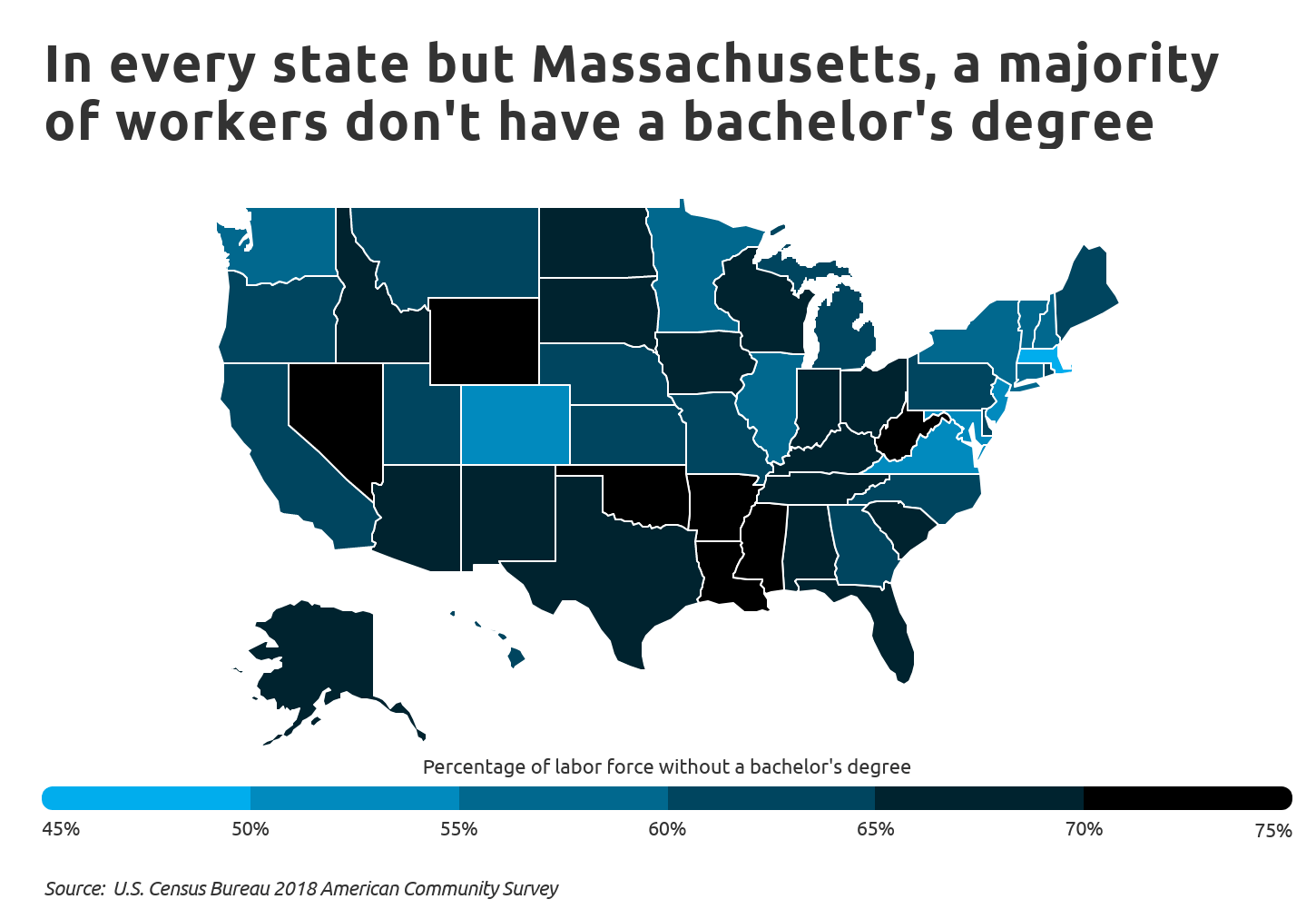 jobs-no-college-Chart3 Labor force education level by state