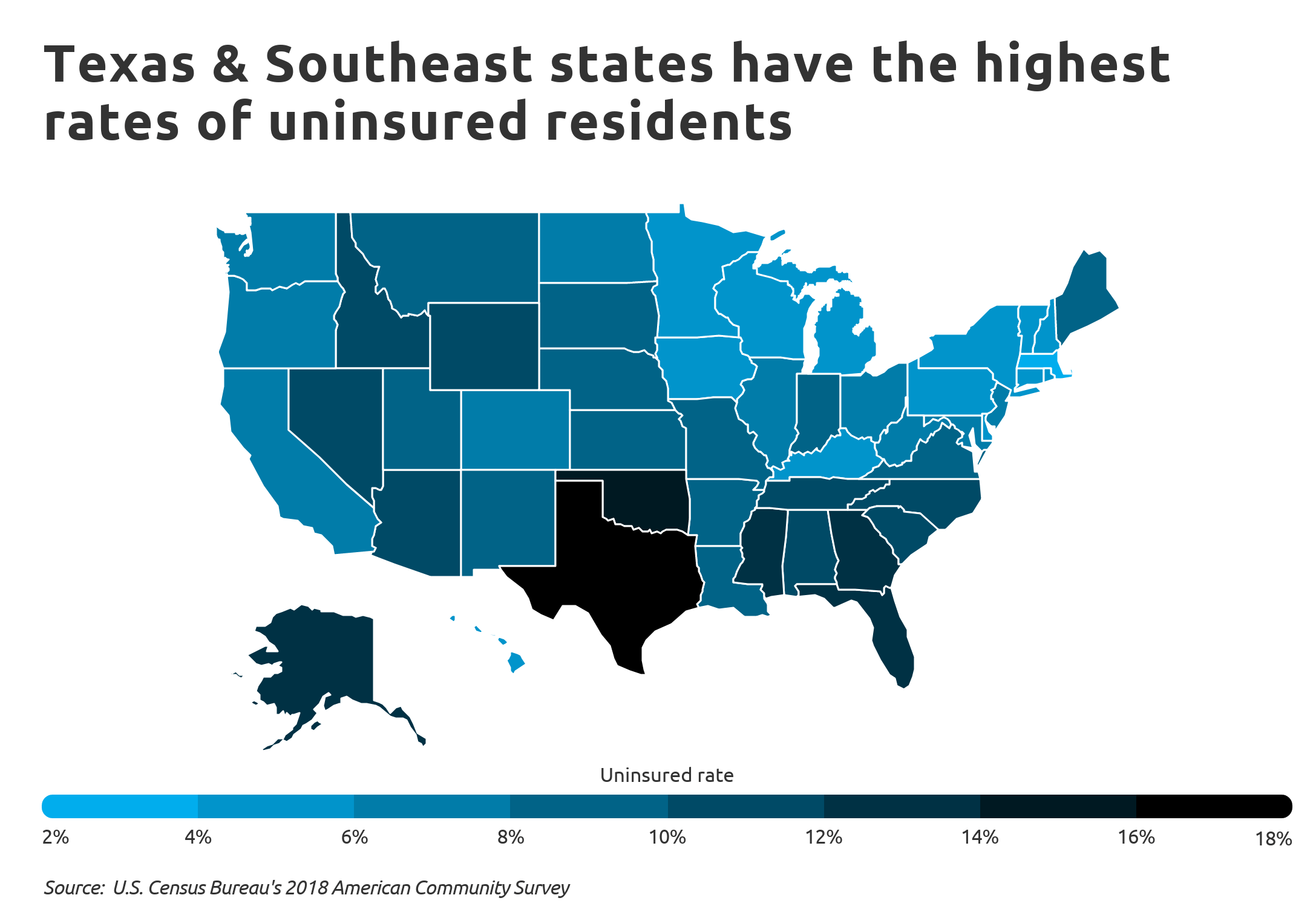 COVID-19 Health: Rate of Uninsured Americans by City - Self