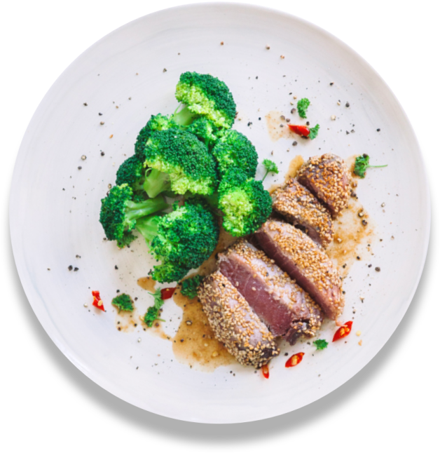 Sesame seared tuna with broccoli