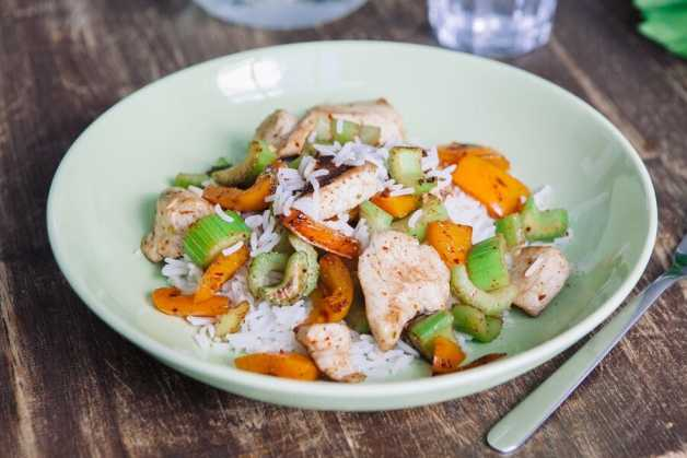 Chicken with rice, celery and carrots
