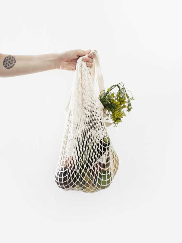 vegetables and fruits in a rope bag