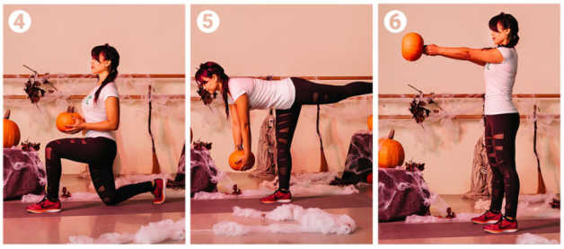 Halloween pumpkin workout, Marife, Romanian deadlift
