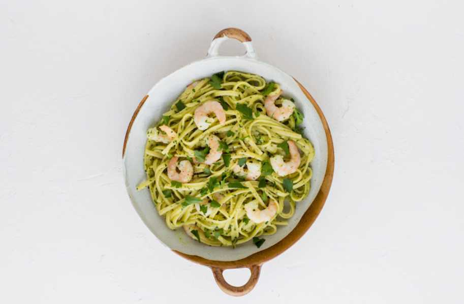 Prawn linguine with kale pesto