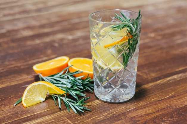 Water with rosemary and orange