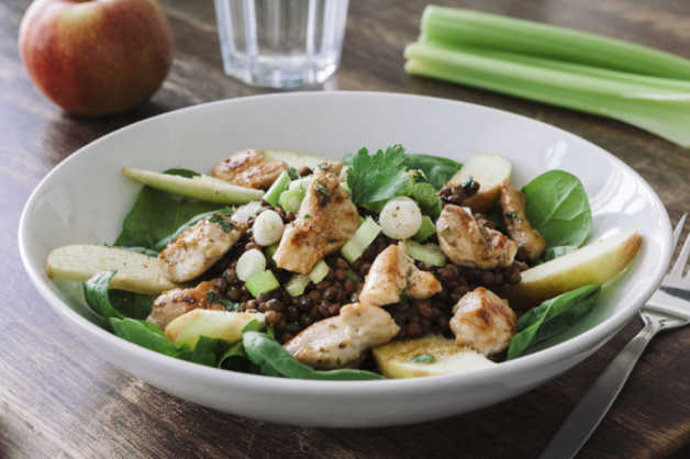chicken with apple lentil spinach salad