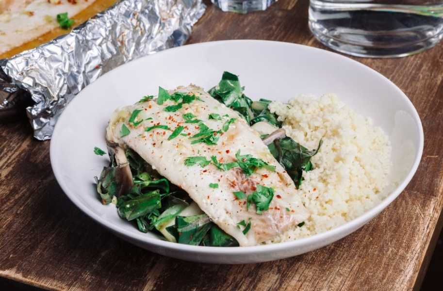 thai style steamed fish with couscous protein-source