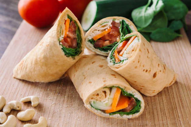 cashew and vegetable wrap wholegrain