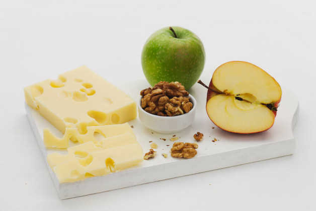 cheese, nuts and apples