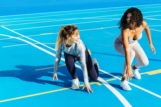 Two women, female, blue, Tenerife, stock, work out, train, exercise