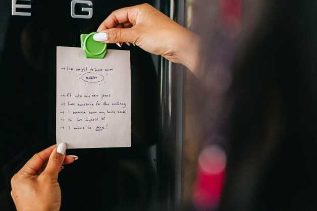how to start losing weight note on fridge