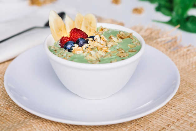 Green smoothie bowl, side angle