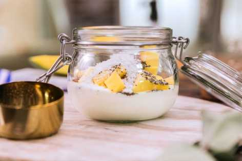 Mango coconut chia yogurt in a mason jar
