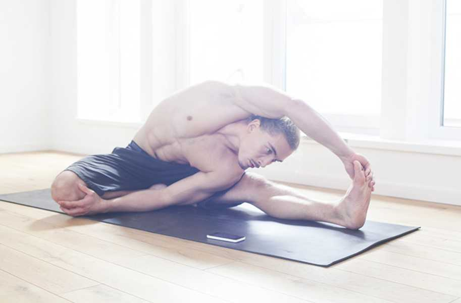 Man stretching, get fit efficiently