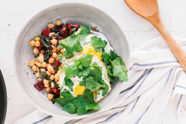 chickpea and chard hash egg