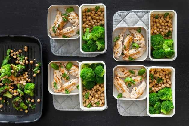 Chicken, broccoli and chickpeas meal planning
