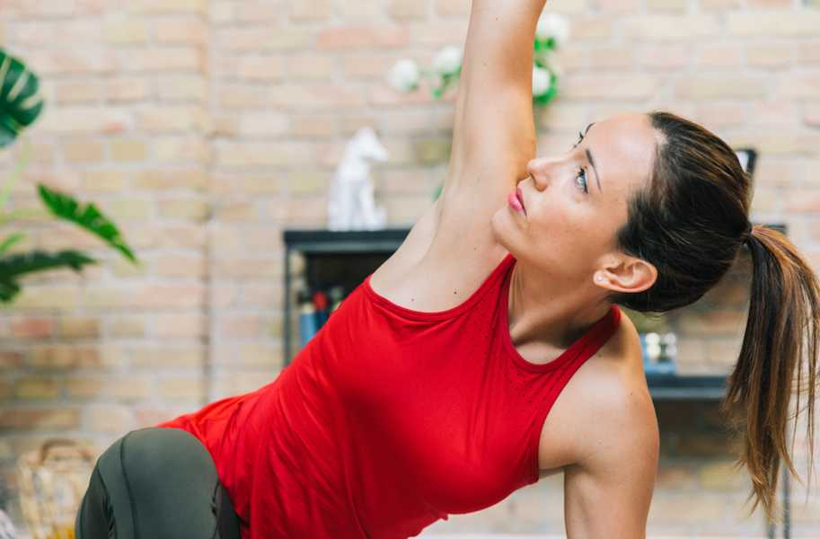Alba, woman, female, yoga, stretching, red shirt