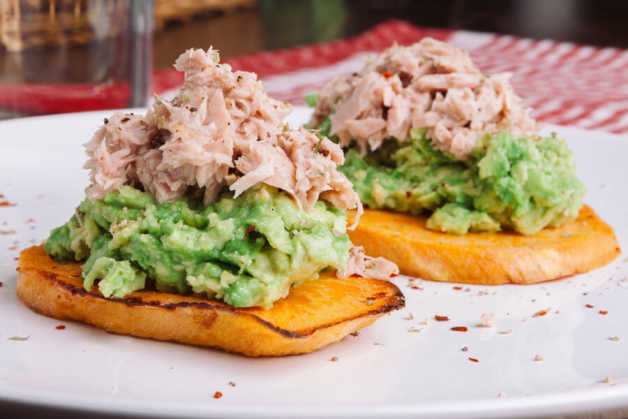 sweet potato toast with avocado and tuna