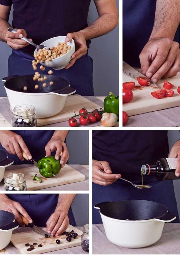 Chickpea salad preparation step-by-step