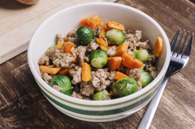 turkey hash with brussels sprouts and sweet potato