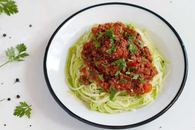 zucchini spaghetti-with ground beef