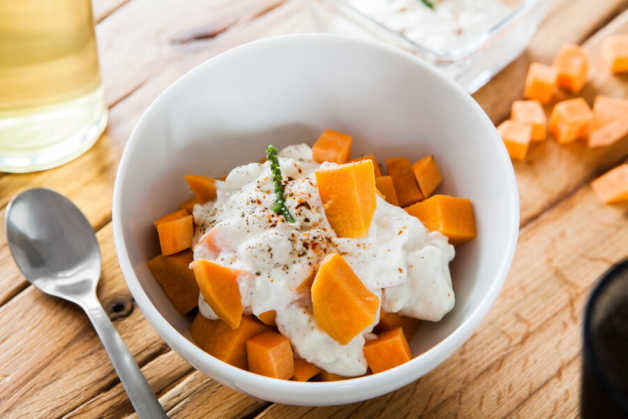 microwave sweet potato with greek yogurt