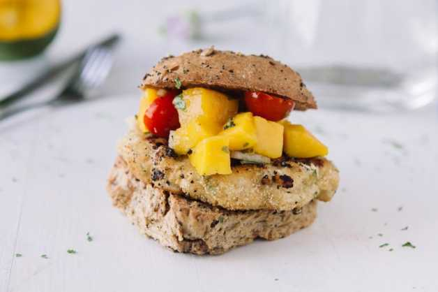 Whitefish burger with mango salsa