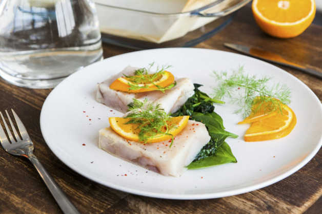 baked halibut with sauteed spinach orange recipe-e1531998739690