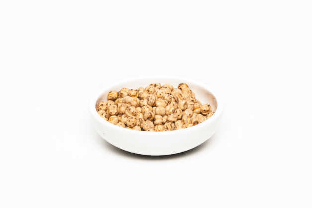 Chickpeas, uncooked in white bowl