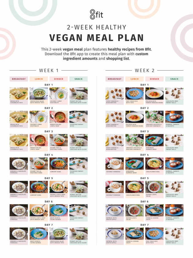 2 week vegan meal plan WITHOUT the ingredients at the bottom