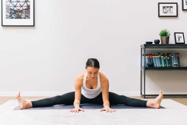 Wide seated forward pose, Emily, yoga