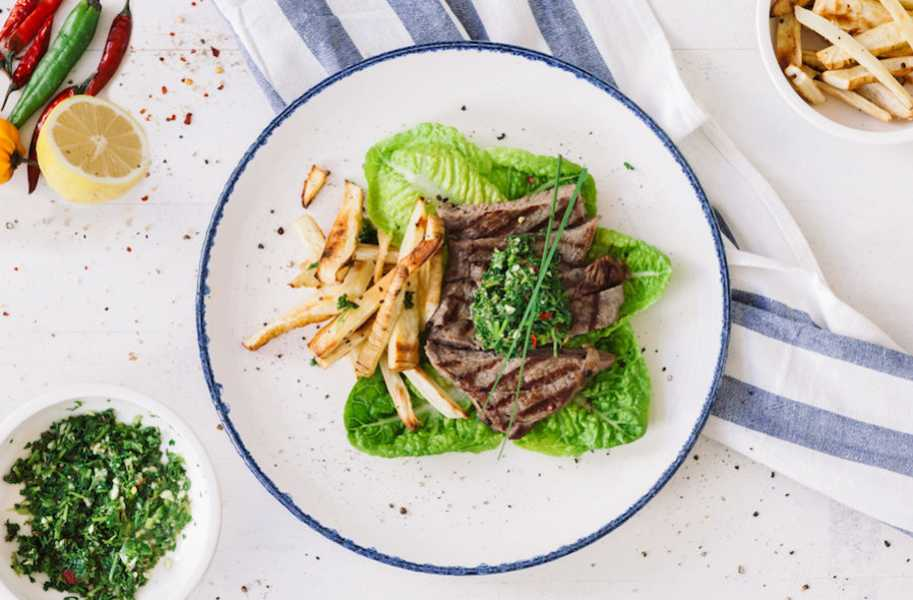 RECIPE steak with chimichurri and parsnip fries