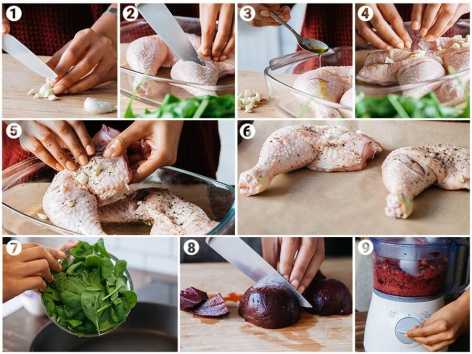 garlic chicken with beet mash and wilted spinach how to make recipe